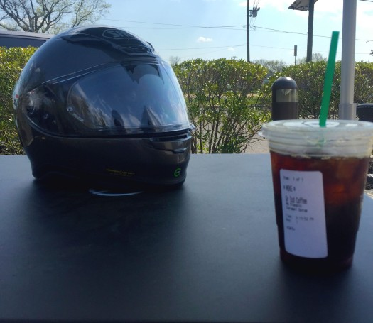 Enjoying some Starbucks in Cherry Hill. You can actually see the pollen all over the place!